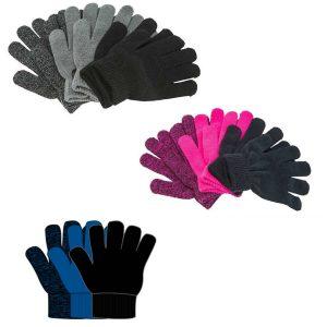 Zigzag, Neckar, strikkede, handsker, 3-pack. sort, blå, lyserød, grå